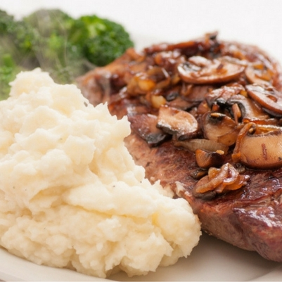 Steak and Sauteed Mushrooms with Roasted Garlic Mashed Potatoes