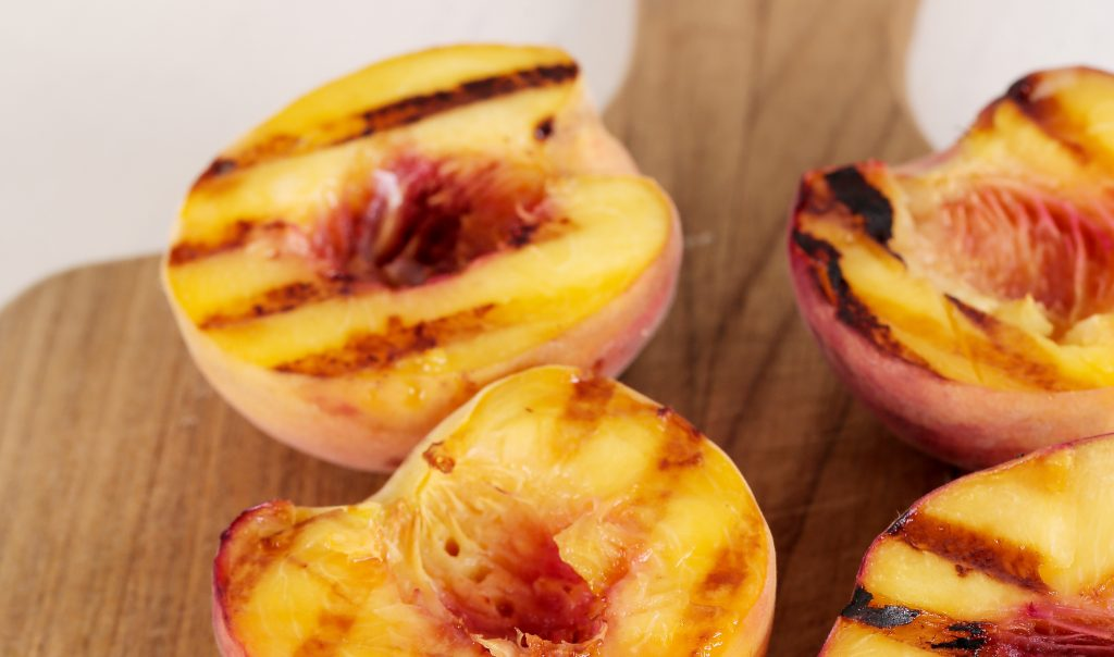 Grilled Peach & Almond Pound Cake Skewers